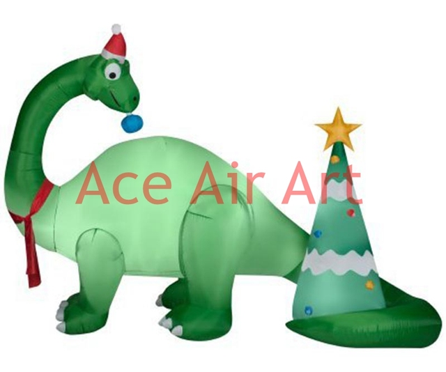 durable oxford cloth material christmas inflatable dinosaur with christmas tree for decoration