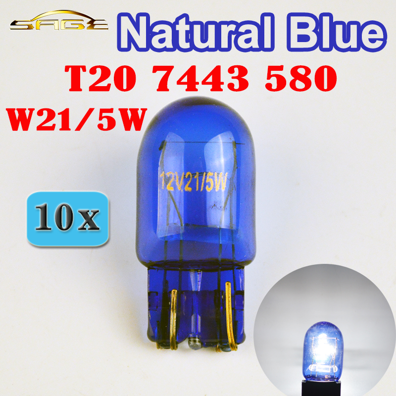 flytop (10 Pieces/Lot) 580 7443 W21/5W XENON T20 Natural Blue Glass 12V 21/5W W3x16q Double Filament Super White Car Bulb dont bug the insects