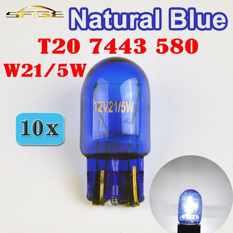 flytop (10 Pieces/Lot) 580 7443 W21/5W XENON T20 Natural Blue Glass 12V 21/5W W3x16q Double Filament Super White Car Bulb nelly copenhagen