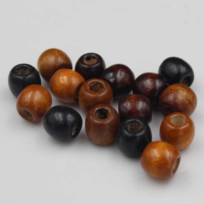 100pcs/lot Big Hole Natural Wood Beads 10mm 12mm Coffee Black Barrel Loose Wooden Spacer DIY Jewelry Making Beading Decoration(China)