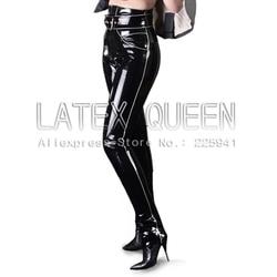 Volwassen latex leggings vrouwen rubberen broek met riem