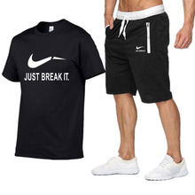 New style summer round neck short sleeve men t-shirts + shorts suits cotton cover fashion brand just t shirt Sports
