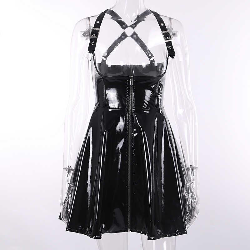 Gotik serseri koyu katı deri Vintage siyah etek fermuar pilili ince ince deri etek kadınlar yüksek bel kısa Mini etekler