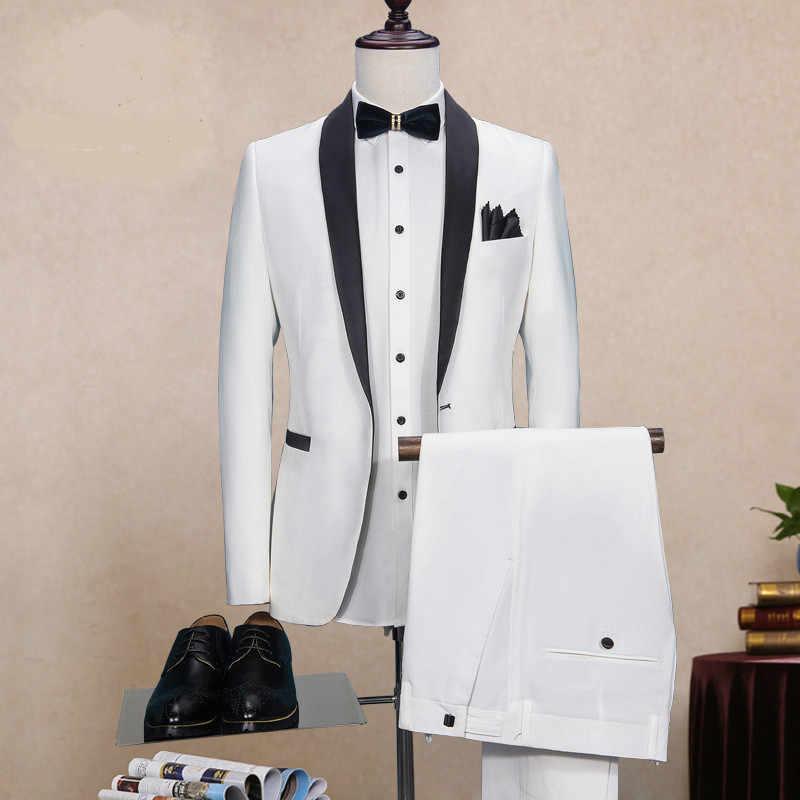 ホワイト、ブラックカラーの結婚式は男性の衣装オムマリアージュ喫煙 Masculino Terno Masculino スリムフィットジャケット + パンツ