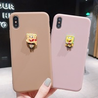 Soft TPU Phone Case For iPhone 8 7 Plus XS MAX XR X 6 6s Plus Case 3D Stereoscopic SpongeBob Silicone Back Cover Fundas Coque
