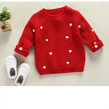 Funfeliz Girls Sweaters Ribbed Red White Cotton Sweater for Kids 2018 Autumn Winter Baby Girl Sweater Knitwear Children Pullover children s sweaters kids boys girls knitted sweater spring autumn toddler sweaters slim knitwear pullover ribbed cardigan tops