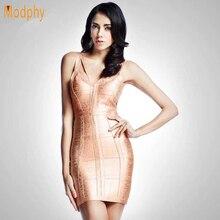 Сексуальные платья женщин Спагетти ремень розовое Золотое Платье-бандаж Соблазнительные, элитные, выходные с открытой спиной леди HL8896