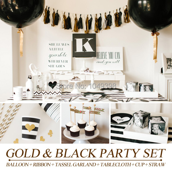PGP] Gold & Black Party Set, Balloons Tassel garland Tablecloth cups ...