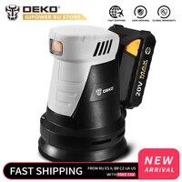 DEKO QD6203 20V DC Cordless Random Orbit Sander with 15pcs Sandpaper and Hybrid Dust Canister Lithium Battery Electric Sander