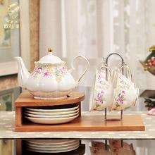 Высококачественные 9 шт наборы, европейские Кофейные Наборы с деревянным держателем для послеобеденного чая, фарфоровый кофейник, чашка suacer, набор