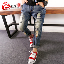 2016 autumn fall new in denim long pants child little boy spring and autumn hole