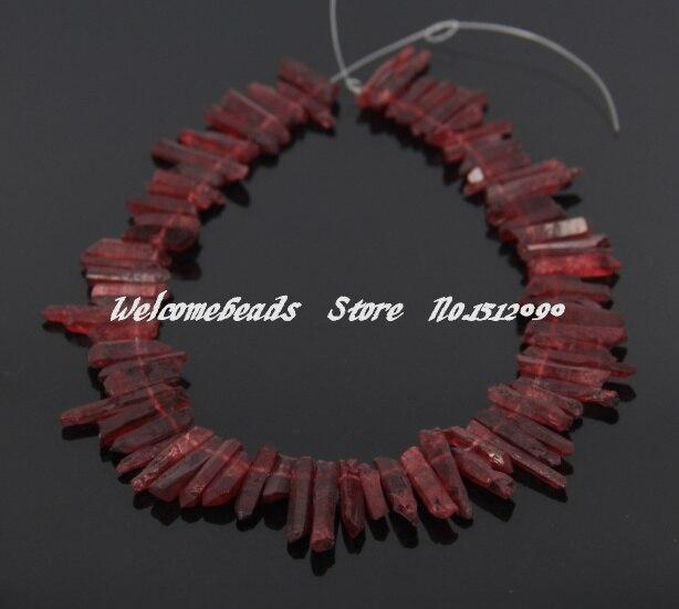 72ks / str. Surových přírodních křišťálových přívěsků s červeným křemenným bodem, křišťálový křišťálový krystal s odstupňovanými klenoty