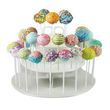 3-Tier 42 Agujeros Redondo Wedding Cake Pop Lollipop Partido de La Magdalena Soporte de Exhibición (Blanco)