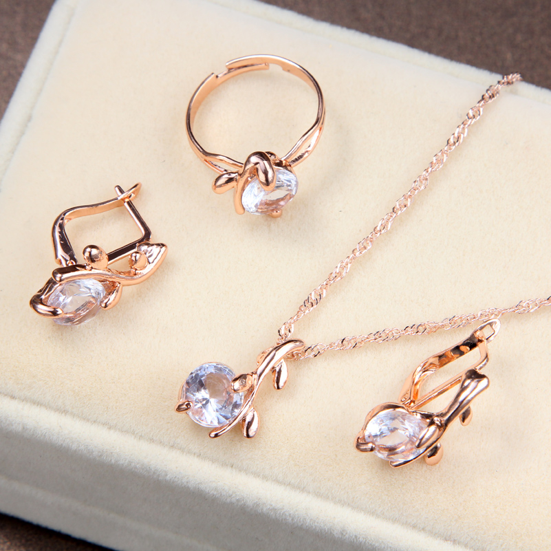 Fashion Elegant Gold color Austrian Crystal Pendants Necklaces Earrings Ring Set Bridal Jewelry Sets For Women Wedding