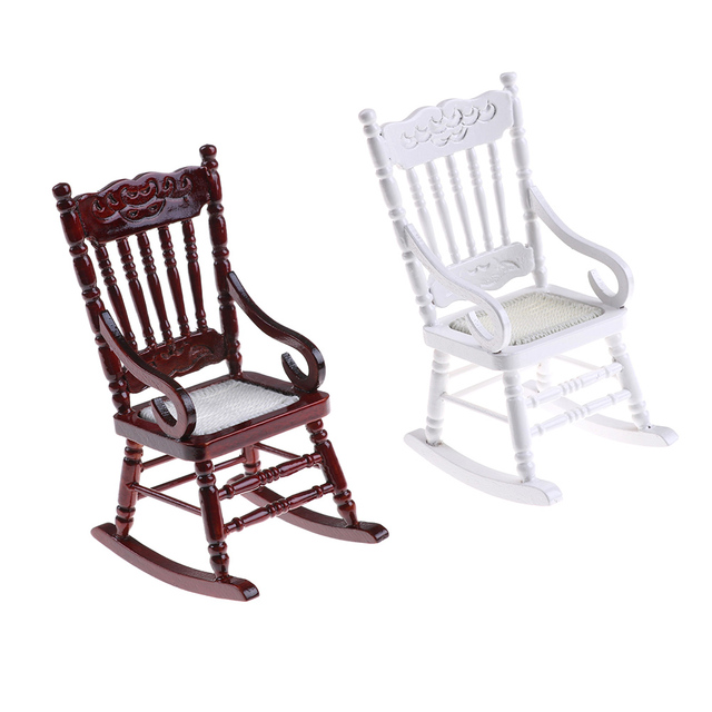New 1:12 Scale Dollhouse Miniature Furniture 2 Colors Wooden Rocking Chair  Hemp Rope Seat