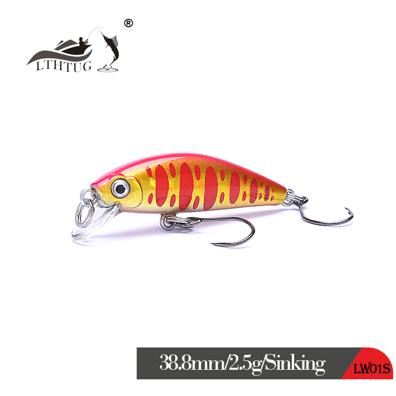 Pesca AGILE MINNOW-38.8S Mini Fishing Lures 38.8mm 2.5g Stream Minnow Sinking Wobbler Isca Artificial Bait Bass Perch Trout Lure
