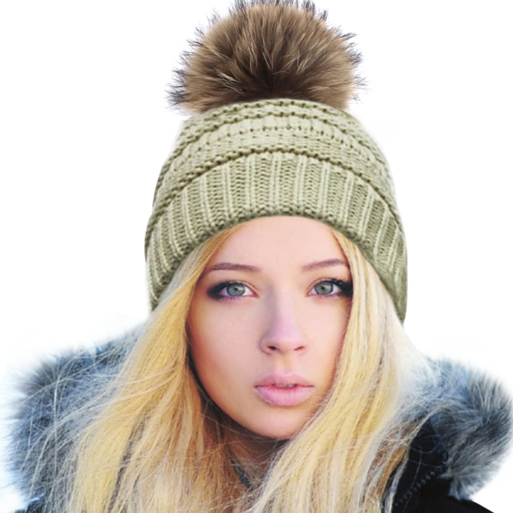 Women Real Raccoon Fur Pompon Hats Skullies Beanies Warm Knitted Gorro Winter Bobble Hat Female Autumn Bonnet Thick Cap F15 femme skullies autumn beanies winter warm chapeau women hat female knitted cap ladies bonnet