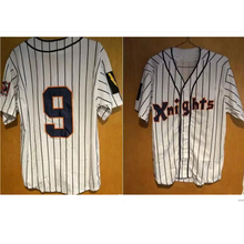 92786420968 New York Knights  9 Roy Hobbs The Natural Movie Redford Baseball Jersey  Gray White Pinstriped