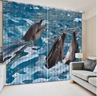 Home Decoration The dolphins in the sea Sheer Curtains Children Curtain For The Living room Bedroom Blue Drapes