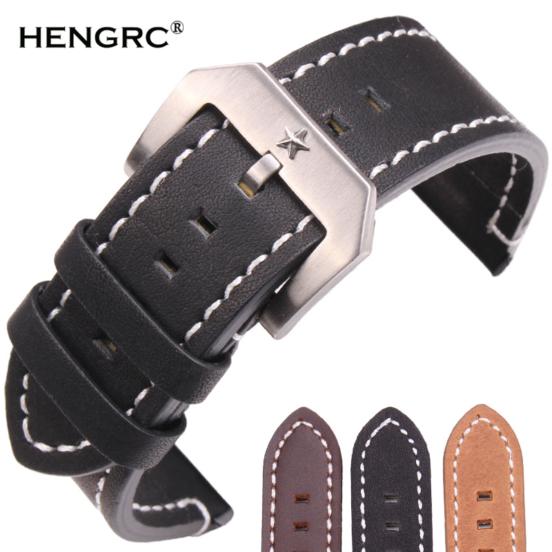 Genuine Leather Watch Band Strap 24mm Black Dark Brown Women Men Bracelet Belt With Silver Metal Pentagram Buckle For Panerai