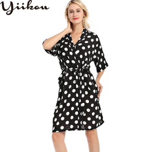 New spring and autumn long cotton printed womens pajamas dot cute nightgown V-neck home service lace bathrobe