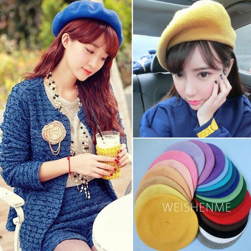 Lady spring Winter Berets Hat Painter style hat Women Wool Vintage Berets Solid Color Caps Female Bonnet Warm Walking Cap 2