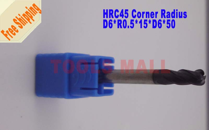 Free shipping - 6pcs 6mm 4Flutes corner Endmill Radius Spiral Bit Milling Carbide CNC  Router bits hrc45 D6*R0.5*15*D6*50 free shipping 2pcs 6mm hrc60 d6 25 d6 75 r0 5 carbide 4 flutes corner radius end mill cnc spiral router bits milling tools