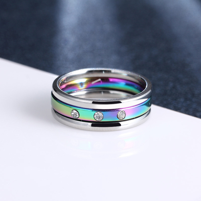 CACANA Titanium Stainless Steel Rings For Women Three Circles Three Zircon Engag
