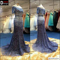 Elegante apliques Robe De soirée largo noche De la sirena vestidos 2015 De lujo Blue Mermaid Prom vestidos De noche formales