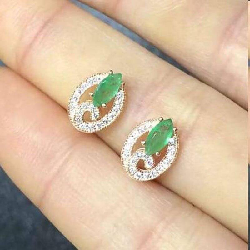 Oorbellen Qi Xuan_Fashion bijoux _ colombie vert pierre élégant boucles d'oreilles _rose or couleur solide boucles d'oreilles _factory directement ventes
