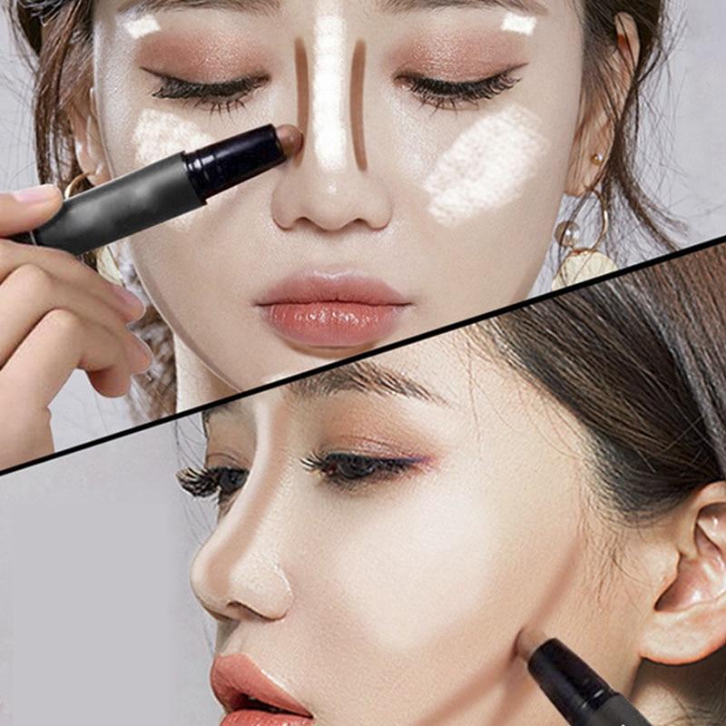 Concealer Cream Brighten Contour Bronzer Highlighter Stick Double-end Pen Foundation Bases Makeup