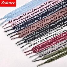 Fashion Letter Print Satin Silk Ribbon Shoelaces 1CM Width Sneaker Flat Shoe laces 1 Pair Strings 80 100 120 140 160 Length ZM1