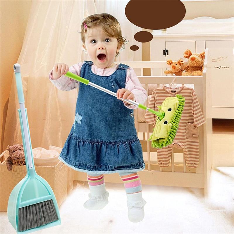 Children's Broom Dustpan Mop Set Mini Broom Corner Cleaning Baby House Sweeping Toy Combination Green Broom Suit Pink Mop