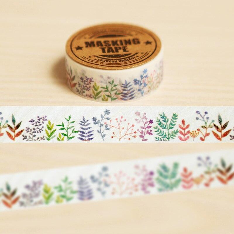 1.5cm*10m Herbaceous Plant Washi Tape Diy Decoration Scrapbooking Planner Masking Tape Label Sticker Stationery