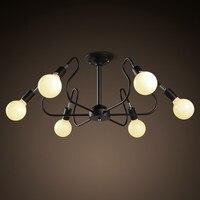 Luzes de teto led metal braço com 6 bulbo preto/branco/vermelho  vintage lâmpada do teto lustre e27 suporte para casa luminárias