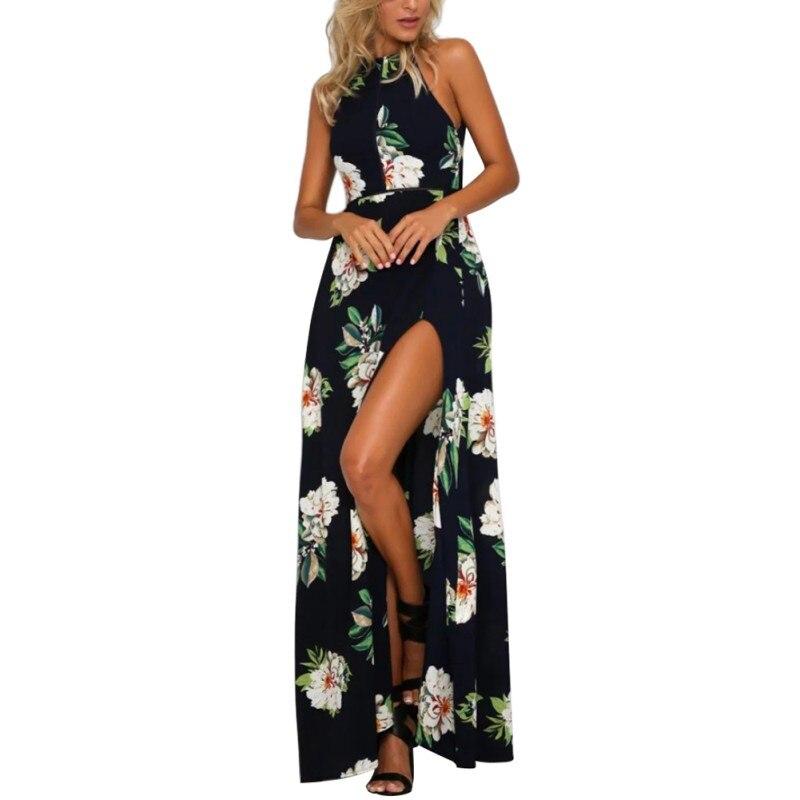 Sexy ladies imprimir maxi dress beach dress 2017 mujeres del verano de largo sin