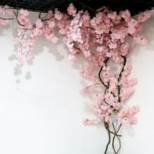 yumai 105см поддельные вишневого дерева 3 вилка ветка сакуры искусственный цветок шелковый свадебный фон украшения стены цветы