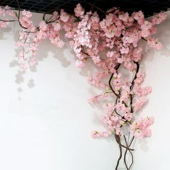 yumai 105cm Fake Cherry Blossom Tree 3 fork Sakura Branch Artificial Flower Silk Wedding Background Wall Decoration Flowers