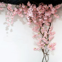 yumai 105cm Fake Cherry Blossom Tree 3 fork Sakura Branch Artificial Flowers Silk Wedding Background Wall Decoration Flowers(China)