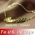 Freeshipping--Carrie Style Name Bracelet Gold Plated over Silver Anklet -Role Chain Personalized Name Jewelry
