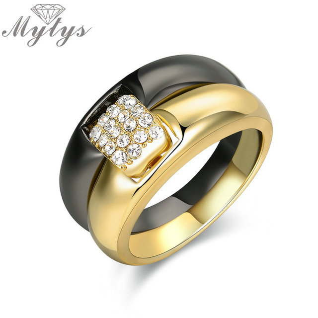 Mytys Two Tone Black and Gold Color Double Band Rings for Women     Mytys Two Tone Black and Gold Color Double Band Rings for Women Lover  Relationship Engagement Wedding