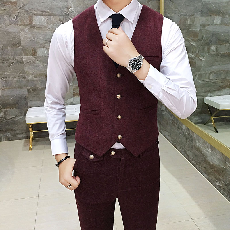 High quality mens three-piece set size S-XXXL Grey Wine Red Green Slim Fit Men Suit Jacket & Vest & Pants Can be sold separately