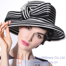 Free Shipping Women Hats Church Hats Flower New Designed Classic Black and white Dress