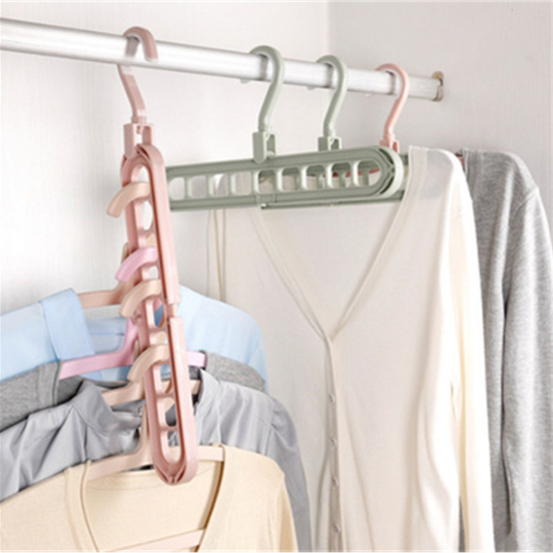 9 Holes/Set Shirts Clothes Hanger Holders Save Space Non-slip Clothing Organizer Practical Racks Sliding Hangers For Clothes