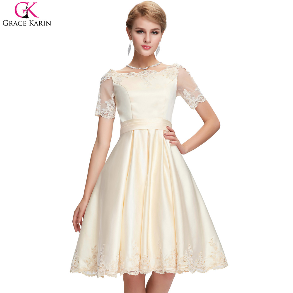 Grace karin champagne vestidos de baile 2017 apliques de tul longitud de la rodi