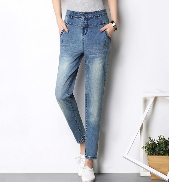 Harem pants for women plus size casual jeans denim high wasit ankle-length pants bloomers autumn spring high waist yyf0705 2017 spring new women sweet floral embroidery pastoralism denim jeans pockets ankle length pants ladies casual trouse top118