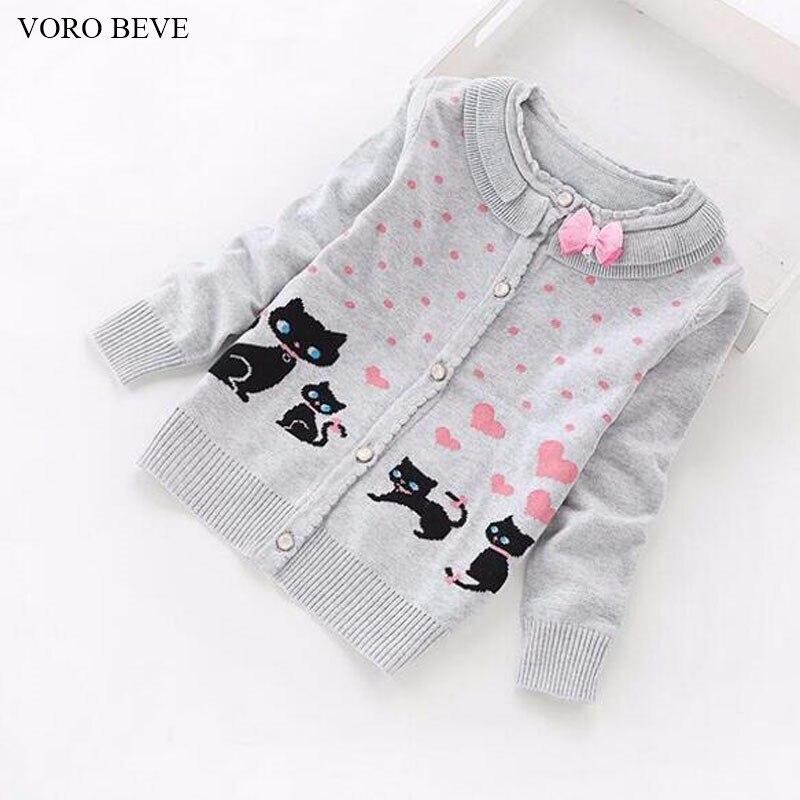 VORO BEVE 2017 New Spring Autumn Hot Sale Sweet Long Sleeve Girls Sweaters Coat Girl