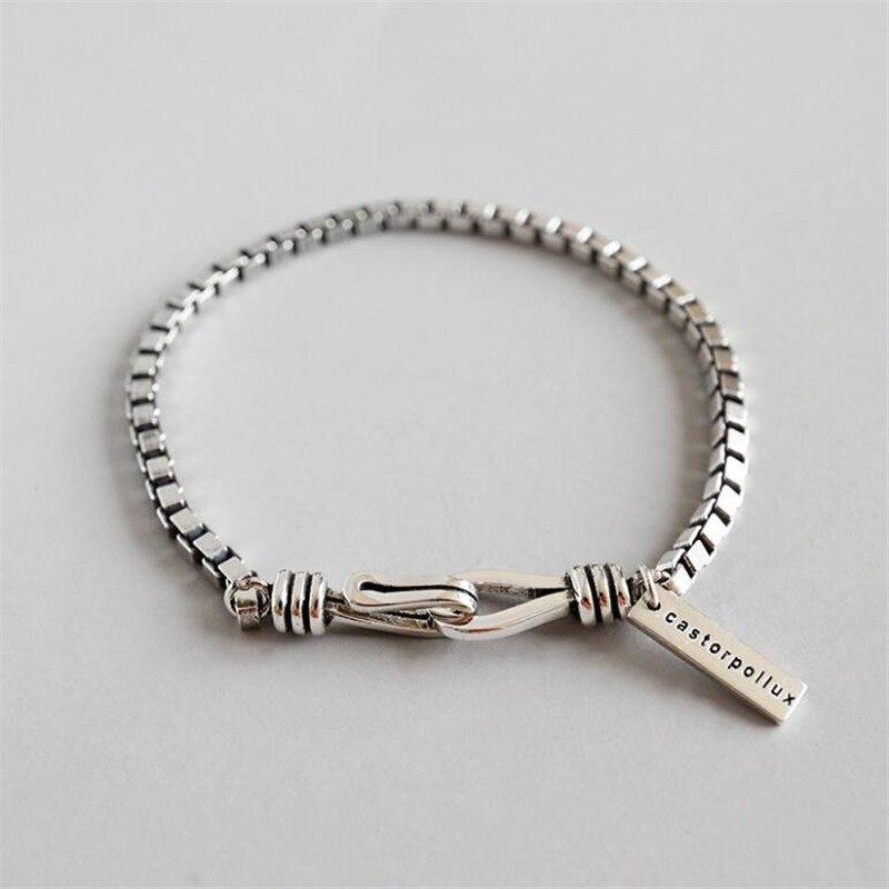 2019 nouveaux hommes en argent Sterling Bracelets mode Vintage large 3 MM boîte chaîne pour femmes tendance amoureux Bracelet unisexe bijoux anciens