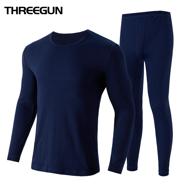 THREEGUN 100% Cotton Winter Men's O-Neck Warm Long Johns Set Ultra-Soft Thermal Underwear termica Undershirt merino Pants Pajama