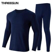 THREEGUN 100% Cotton Winter Men's O-Neck Warm Long Johns Set Ultra-Soft Thermal Underwear termica Undershirt merino Pants Pajama
